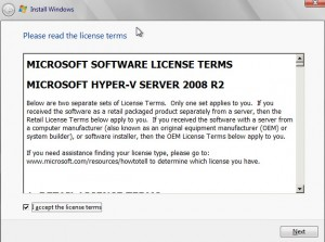 Accept licensing agreement from Microsoft