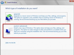 type of installation you want for Microsoft Hyper-V Choose Custom