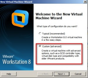 Click on Custom (advanced) for virtual machine