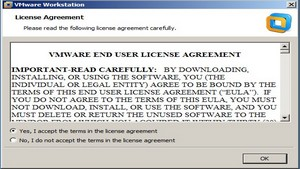 Launch VMWare Workstation 8 and Accept the license agreement